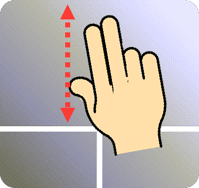 Using two fingers to scroll on a touchpad