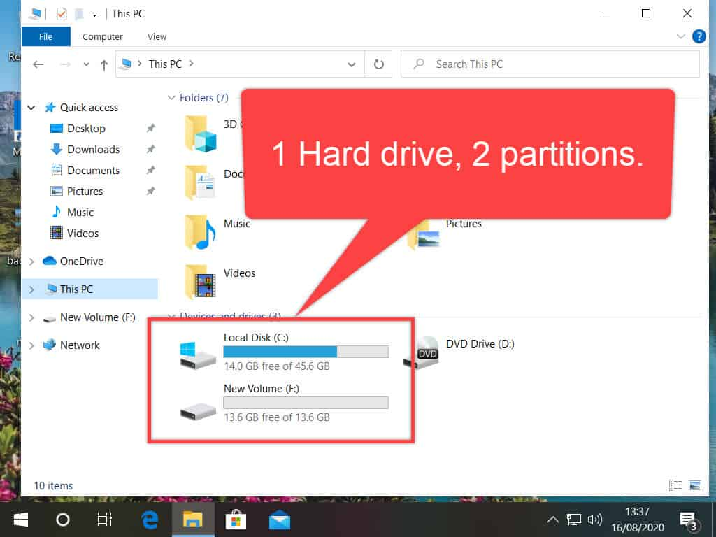 A single hard drive with 2 partitions in File Explorer.