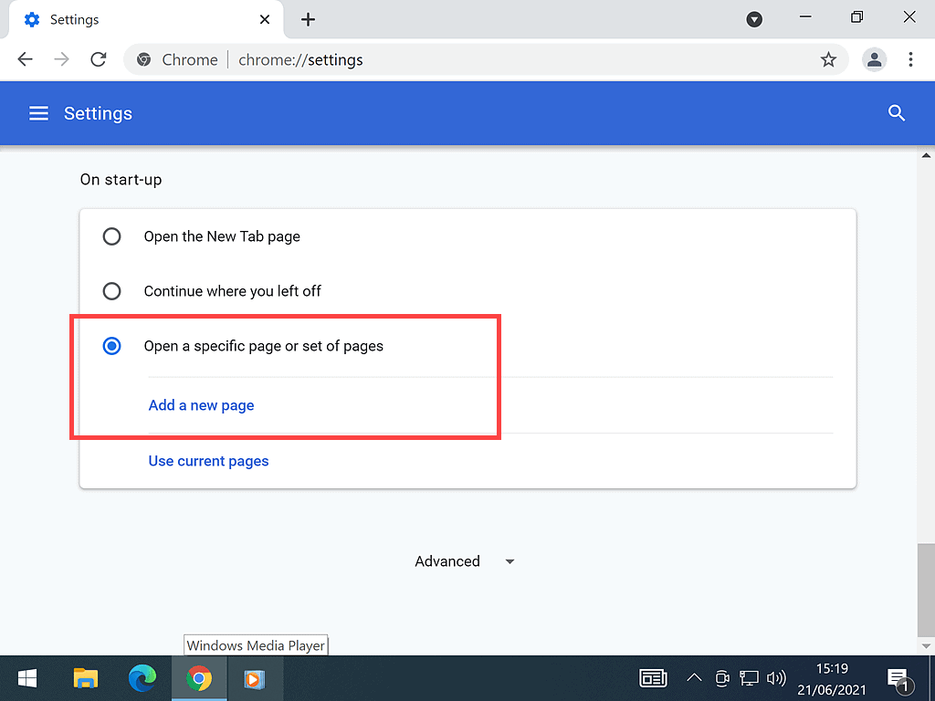 Add a new Start up page in Google Chrome.