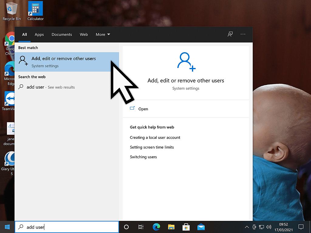 Add, edit or remove user account shown on start menu
