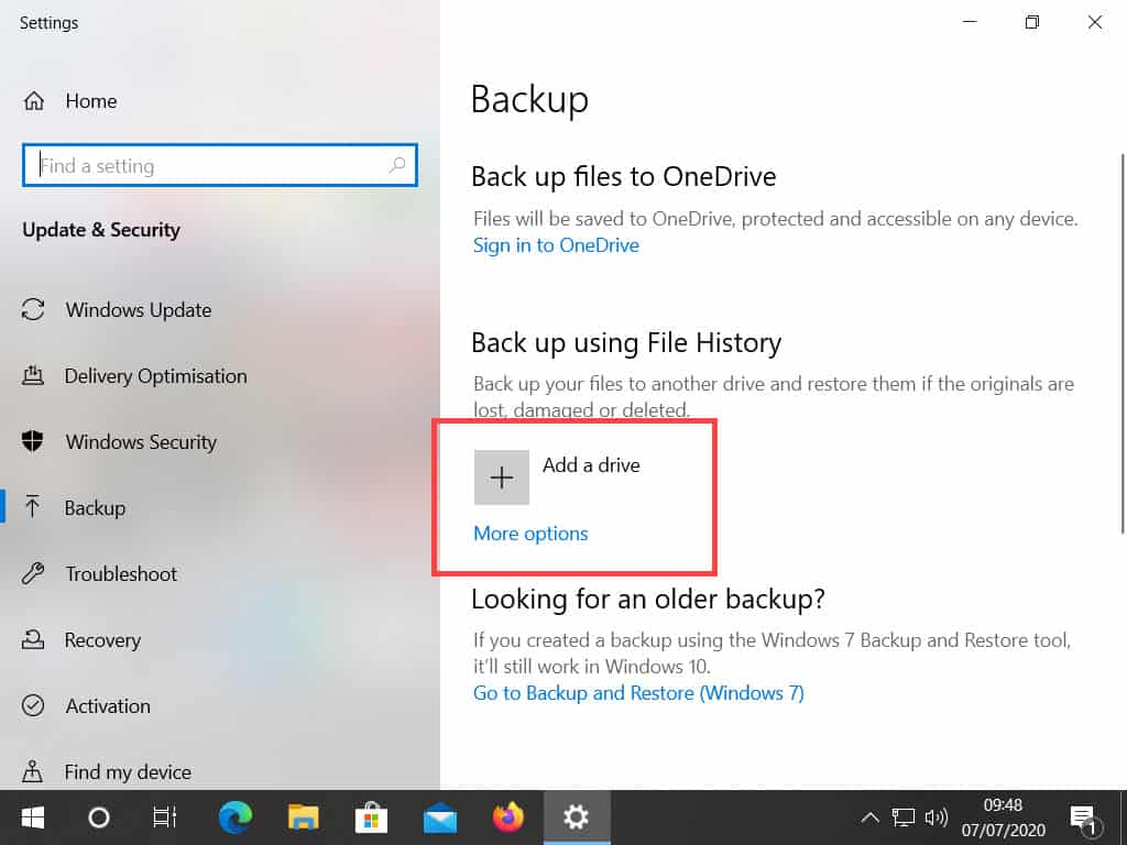 Backup page in Windows. Add drive option highlighted