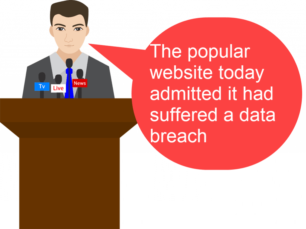 """Man speaking from lectern. Text reads """" There has been a data breach"""""""