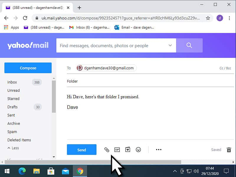 The Attach files icon (paper clip icon) is marked in Yahoo Mail.