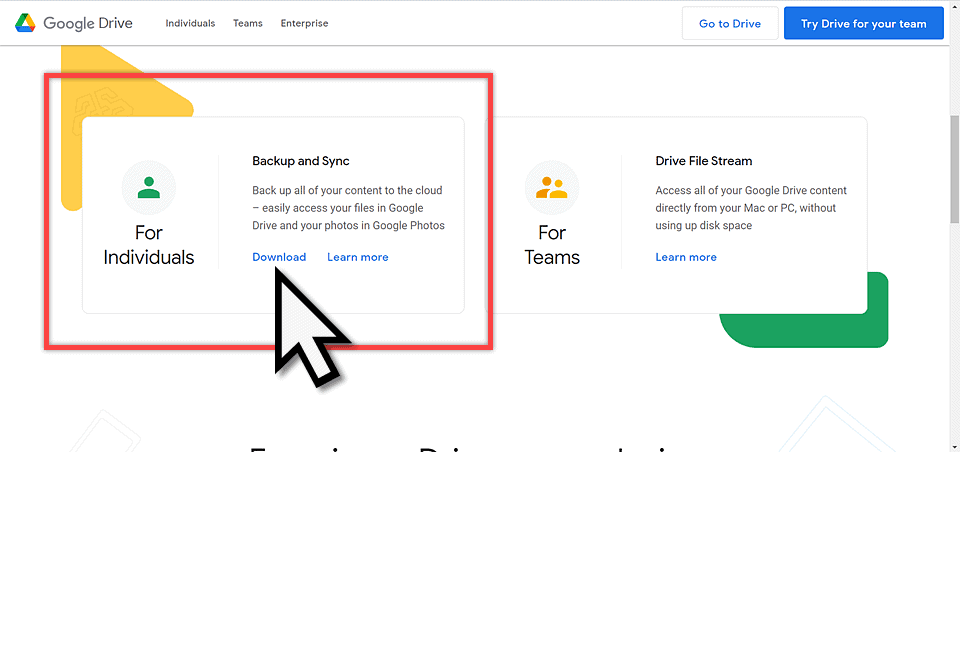 Google Backup and Sync download page
