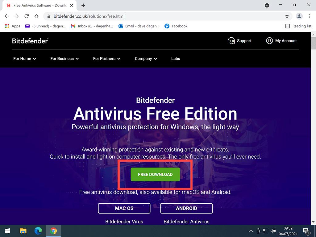 Bitdefender Free Anti Virus download page.