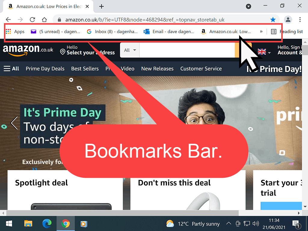 Bookmarks indicated on Bookmarks Bar in Chrome.