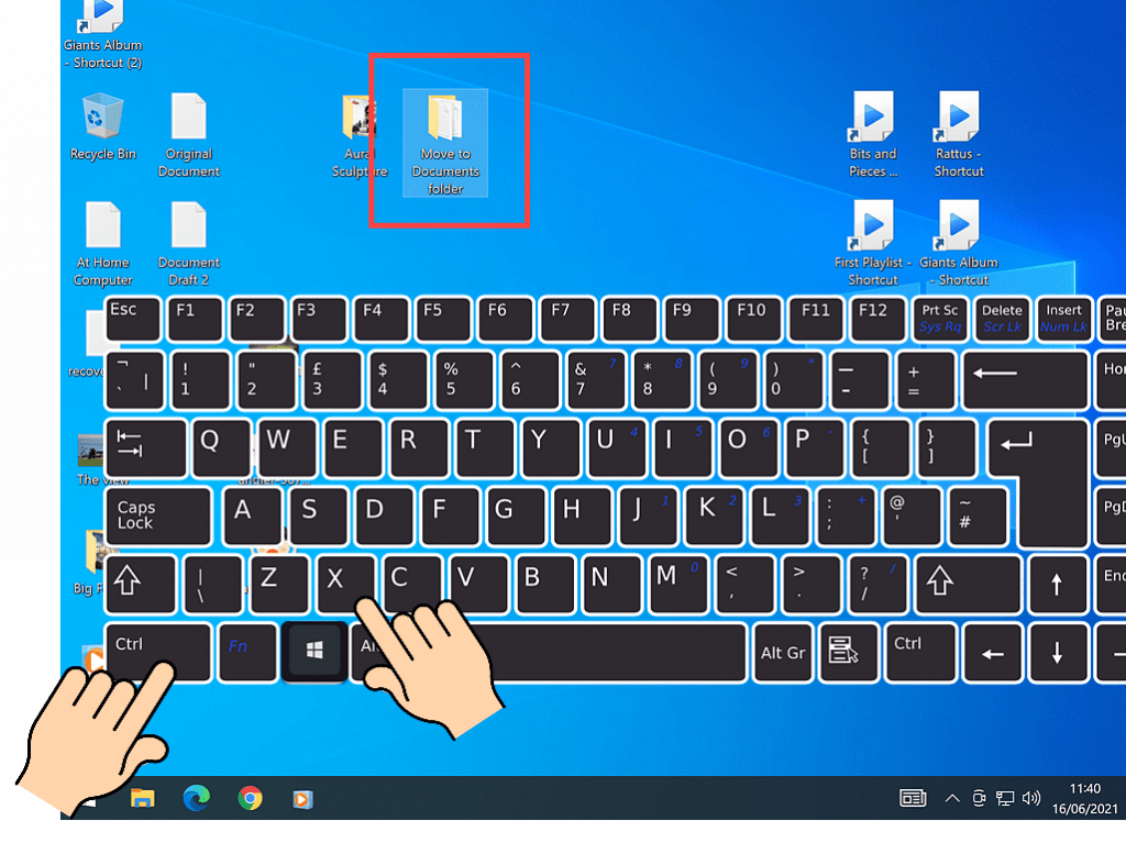CTRL and letter X indicated on keyboard.