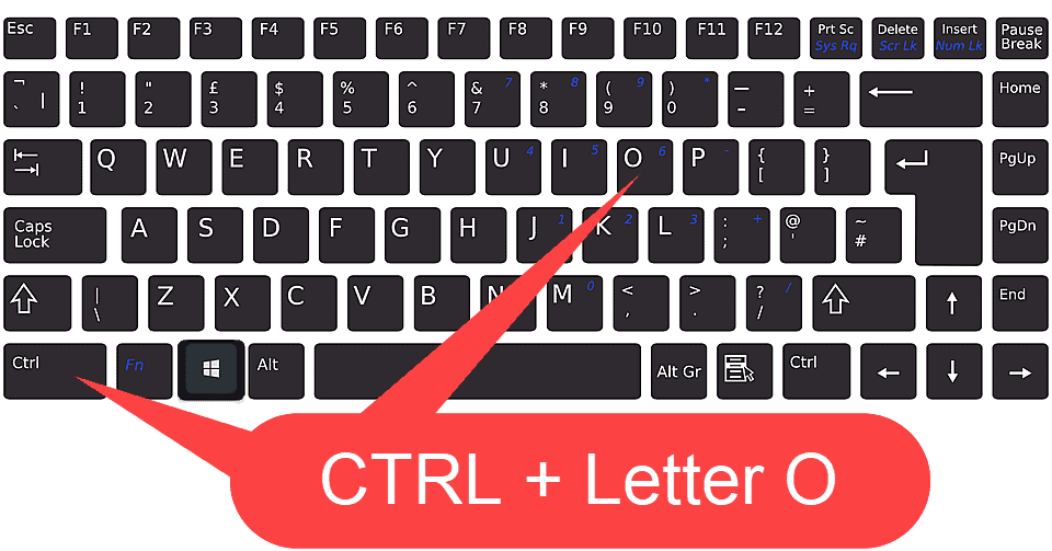 Keyboard with CTRL key and letter O key marked.