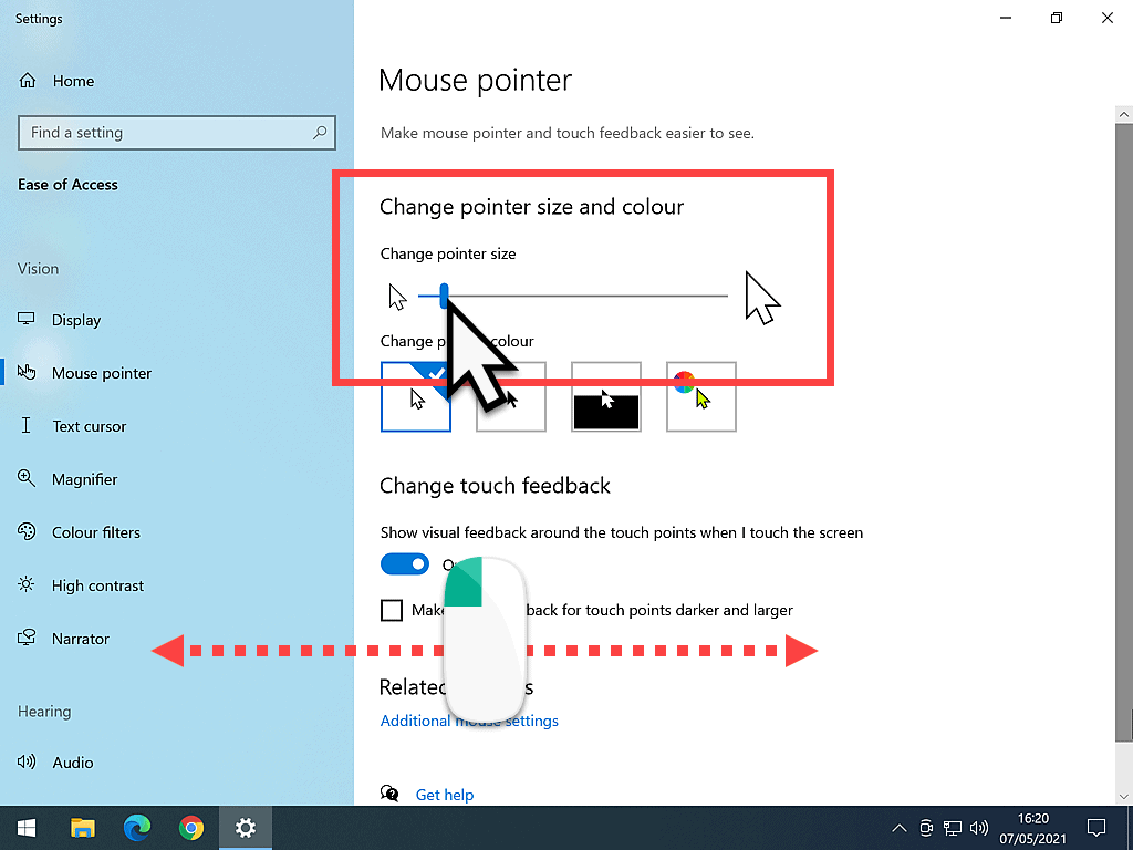 Mouse pointer options in Windows 10.