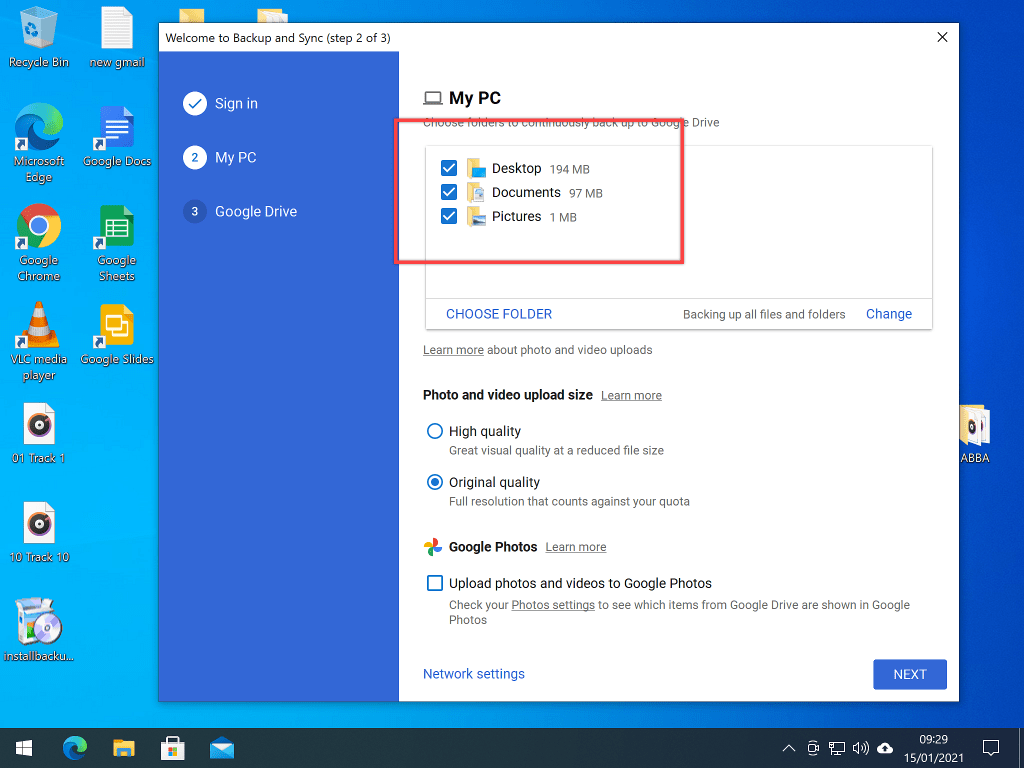 Backup & Sync preselected folders. Folder size is highlighted.
