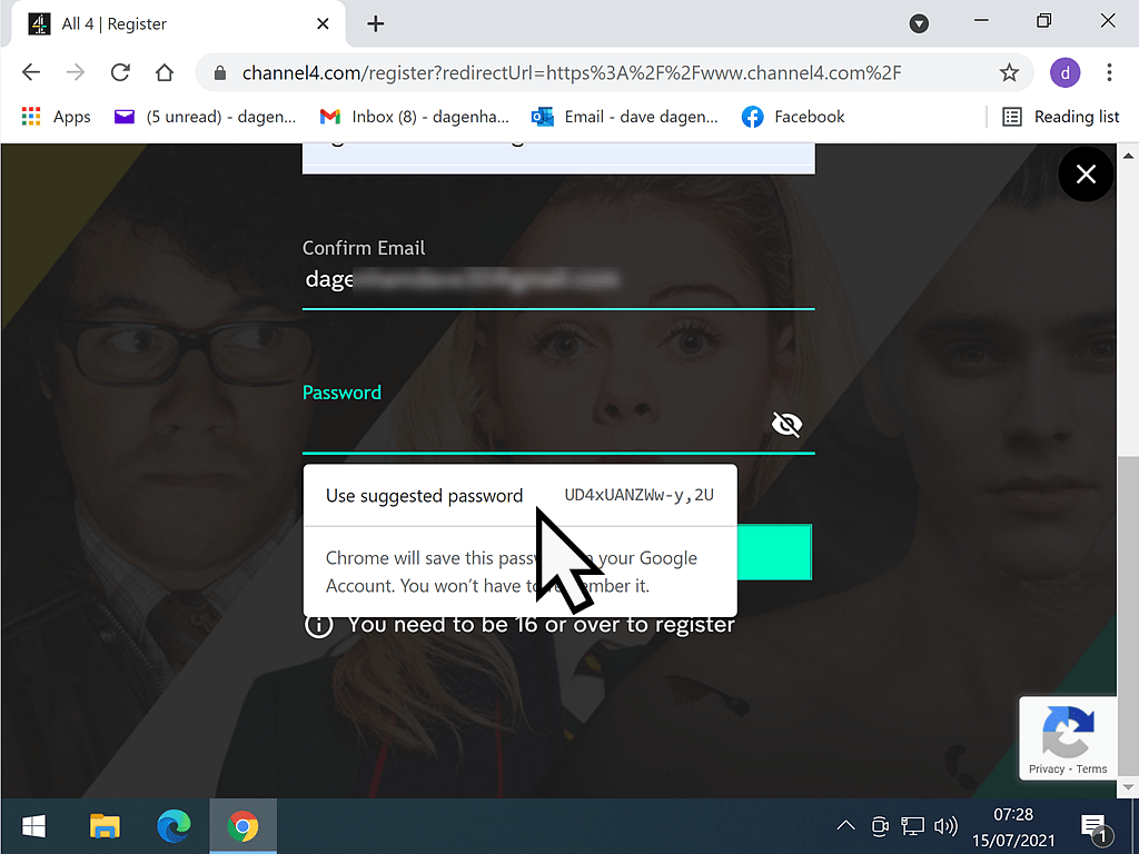 Clicking on a suggested password from Chrome password manager.