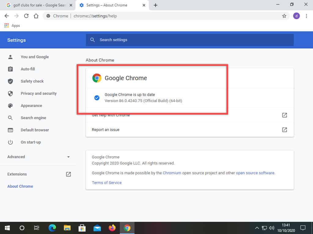 Google Chrome is up to date.
