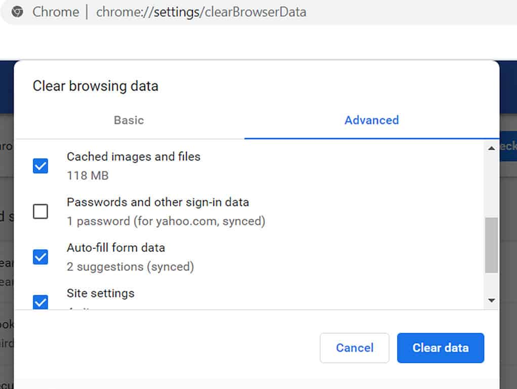 Clear browsing data in Chrome. All options selected except Passwords.