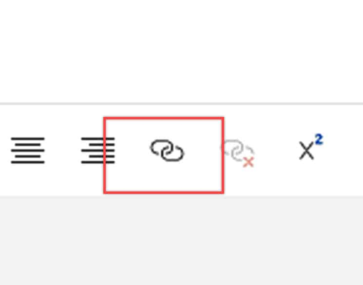Close up view of the link icon in Outlook.com.
