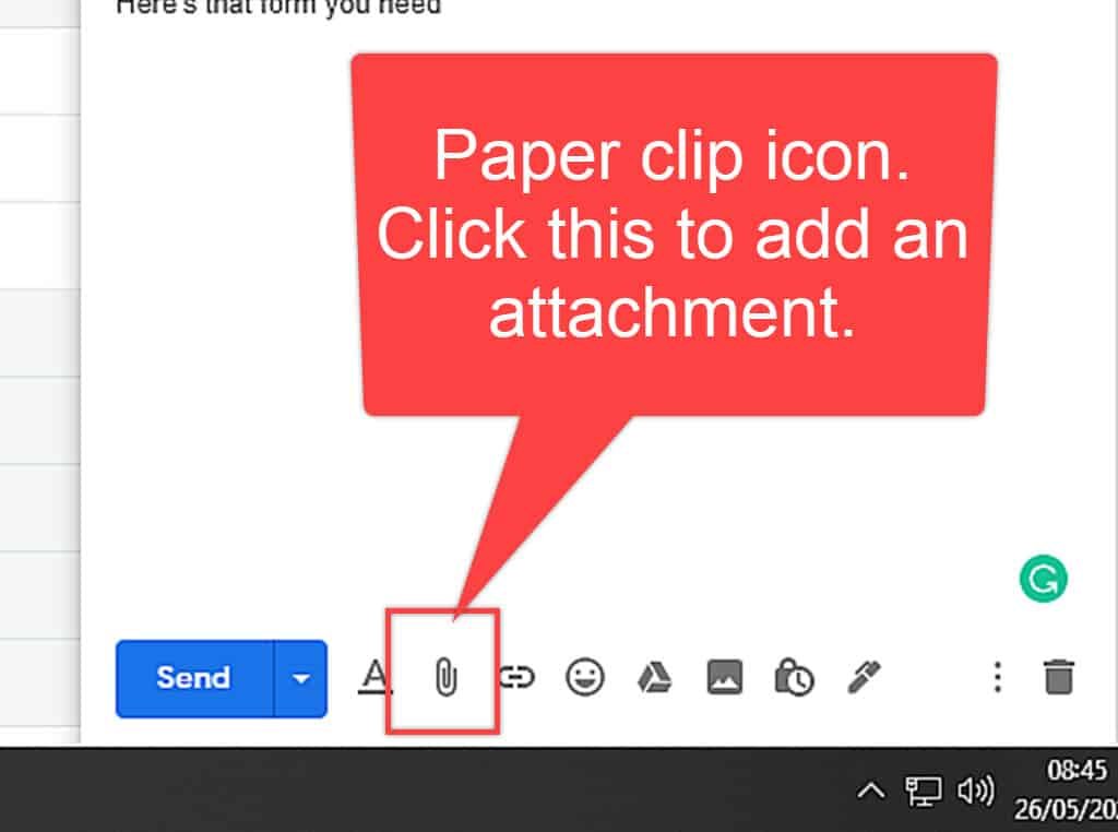 """Image text reads """"Paper clip icon"""" Arrow points to the icon in Gmail."""