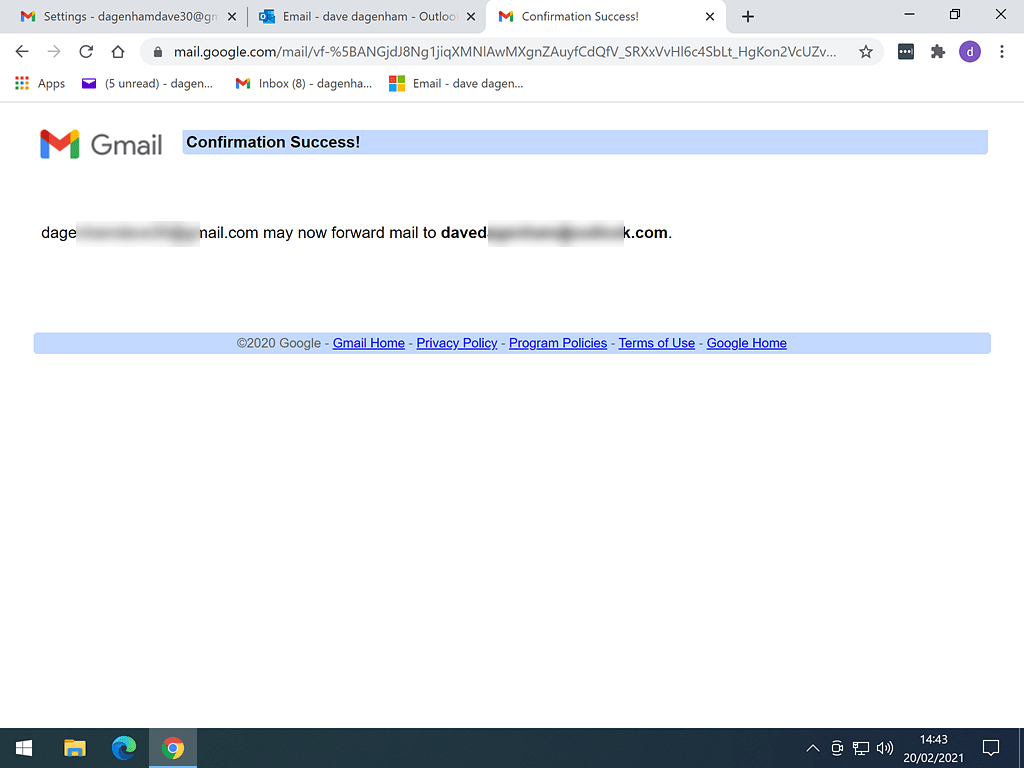 Email forwarding from Gmail successfully setup.