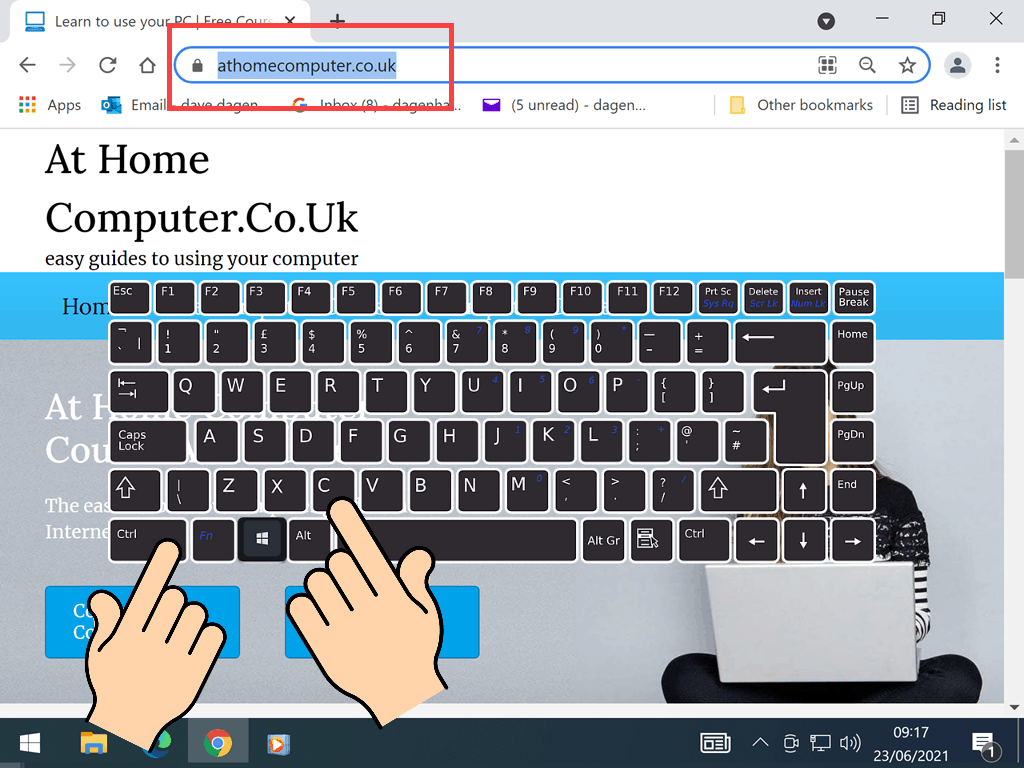 Keyboard CTRL key and letter C marked.