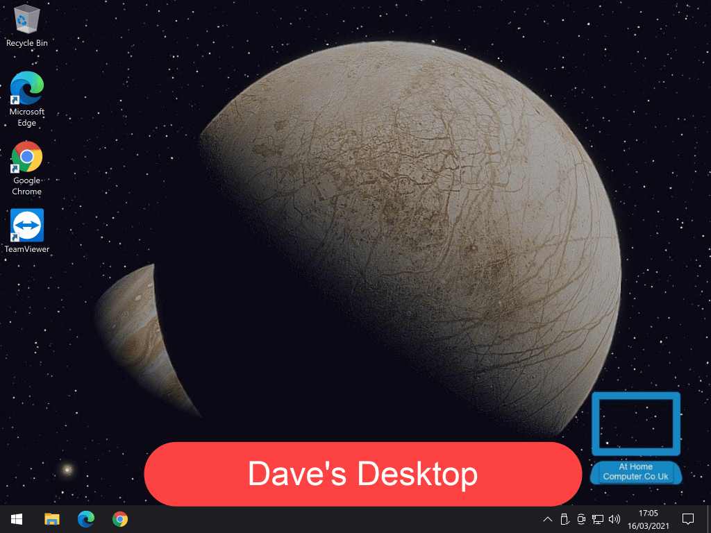 """Windows desktop with an image of out space set as background. Slogan reads """"Dave's desktop"""""""