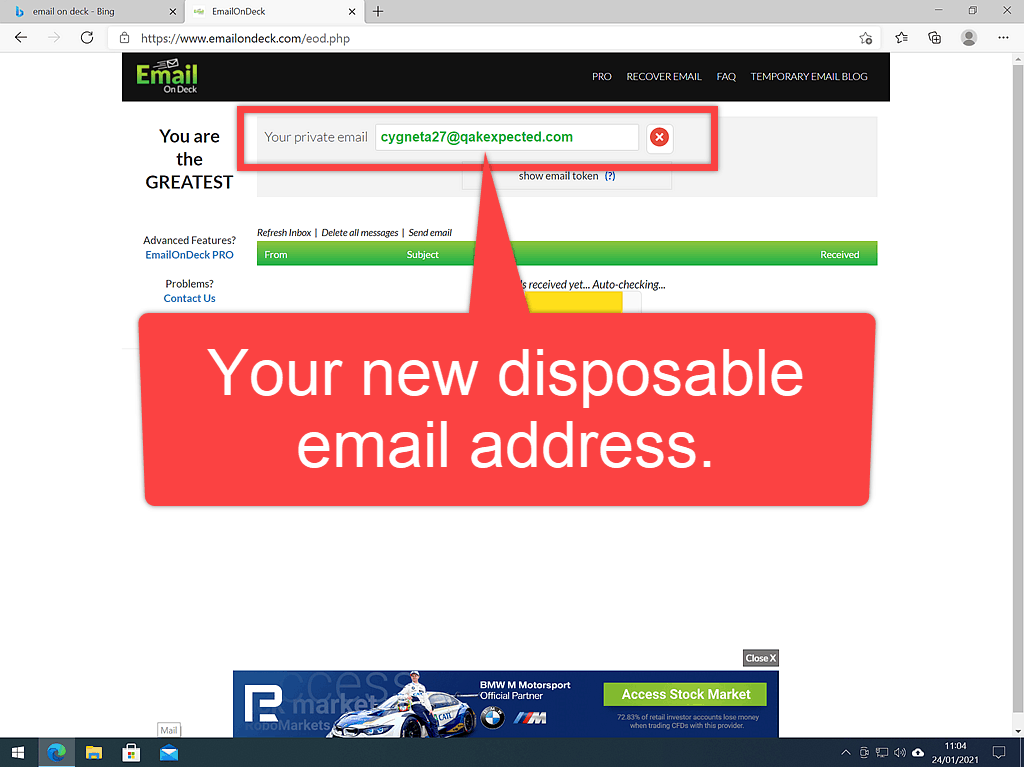 """Email On Deck Disposable email address. The text reads """"This is your disposable email address"""". Arrow points to the address."""