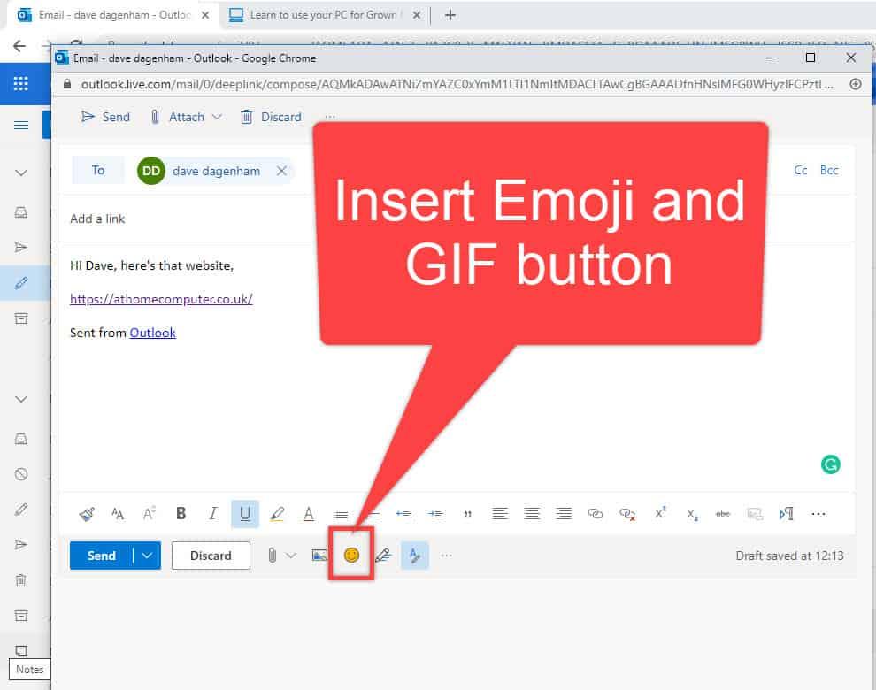 Insert emoji & GIF button on the toolbar.