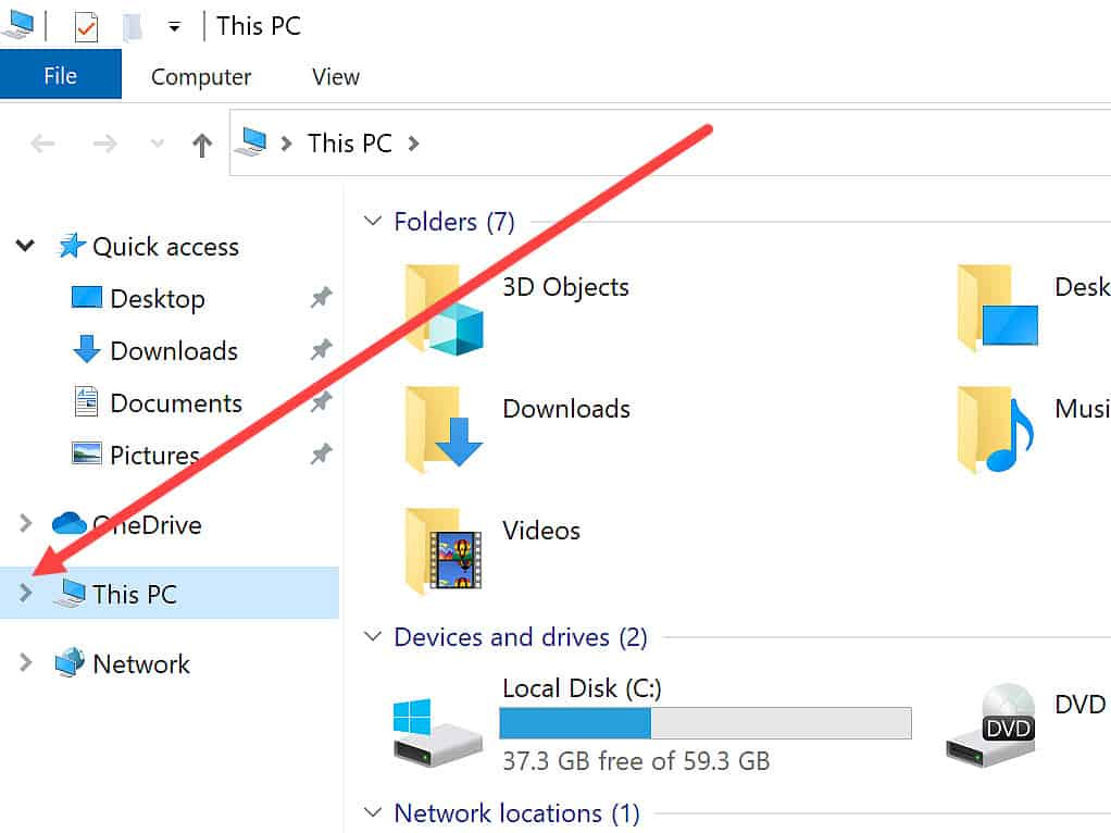"""Arrowhead indicated beside """"This PC2 in File Explorer window."""