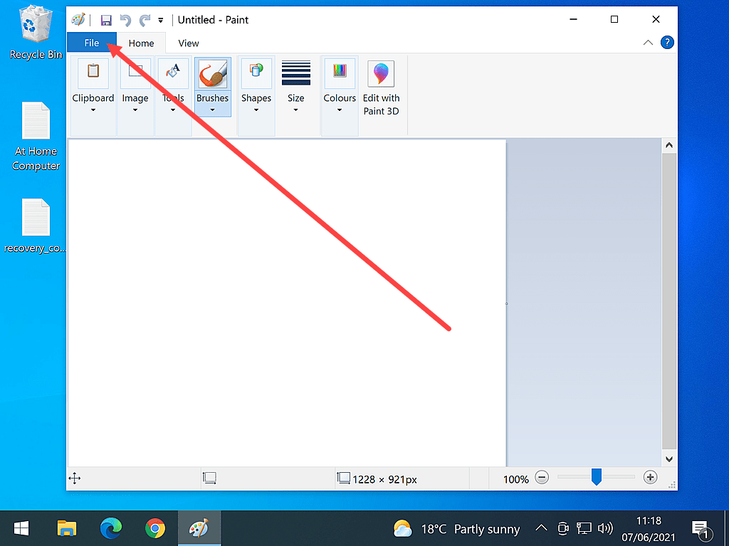 Windows Paint open. No image is loaded.