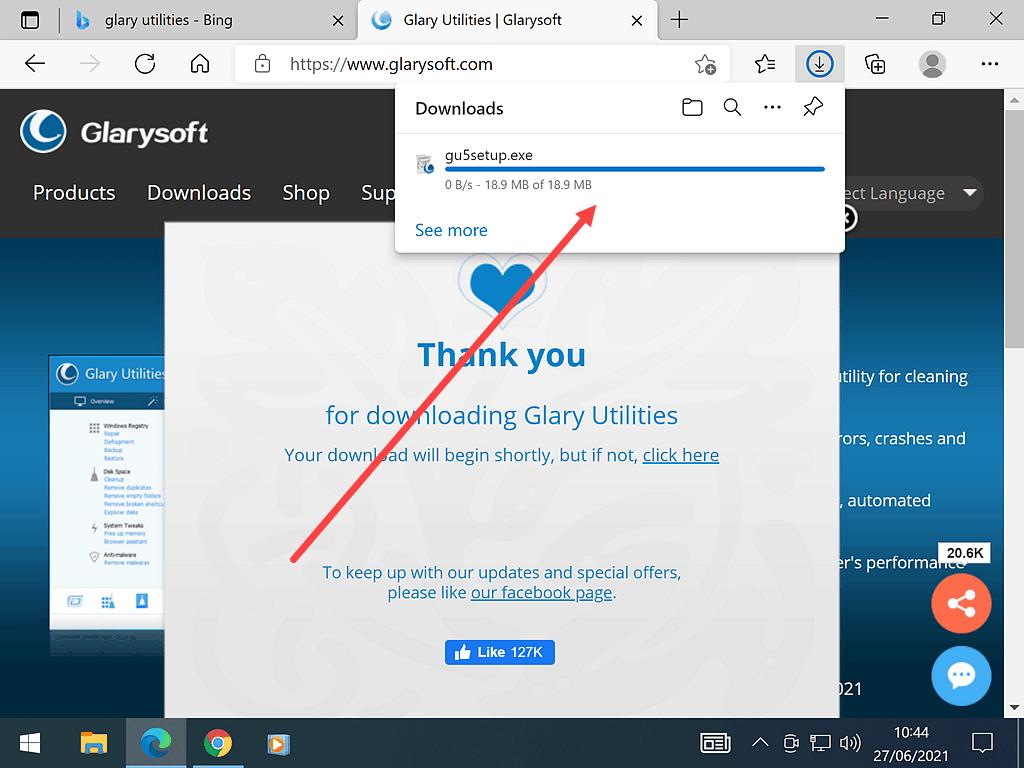 Download in progress notification in Edge.