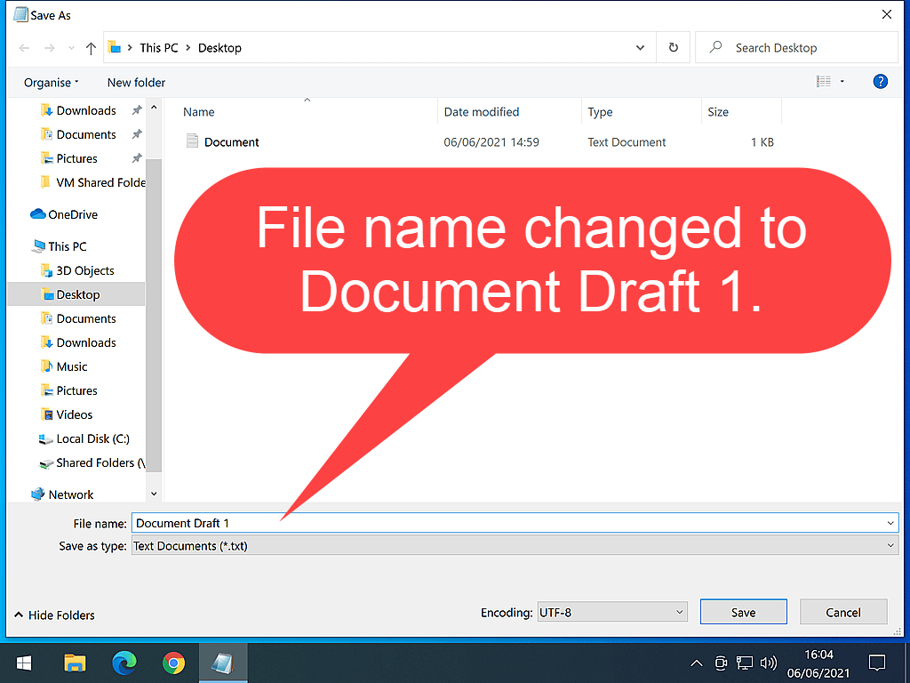 """Text reads """"File name changed to Document Draft 1"""""""