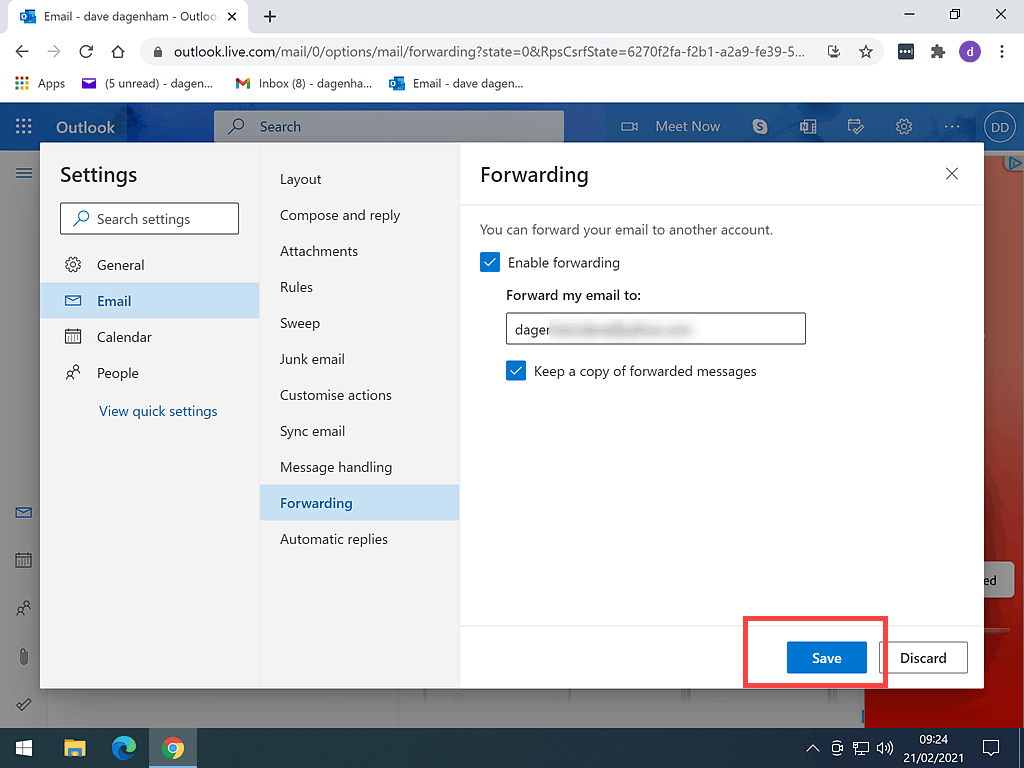 Entering an email address for outlook.com to forward emails to.