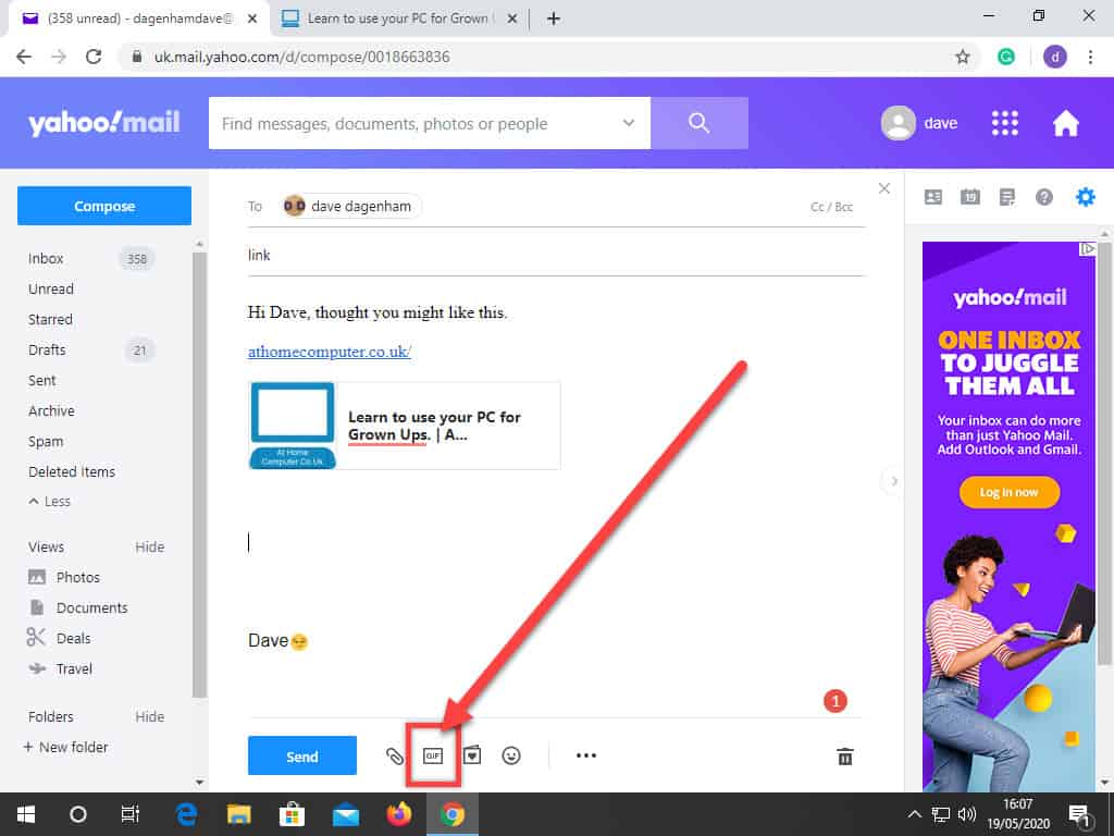 Arrow indicates the insert GIF icon in Yahoo Mail.