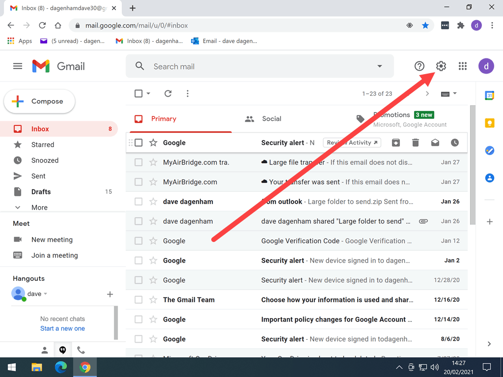 Gmail settings icon (gear wheel) is indicated in the Gmail account.