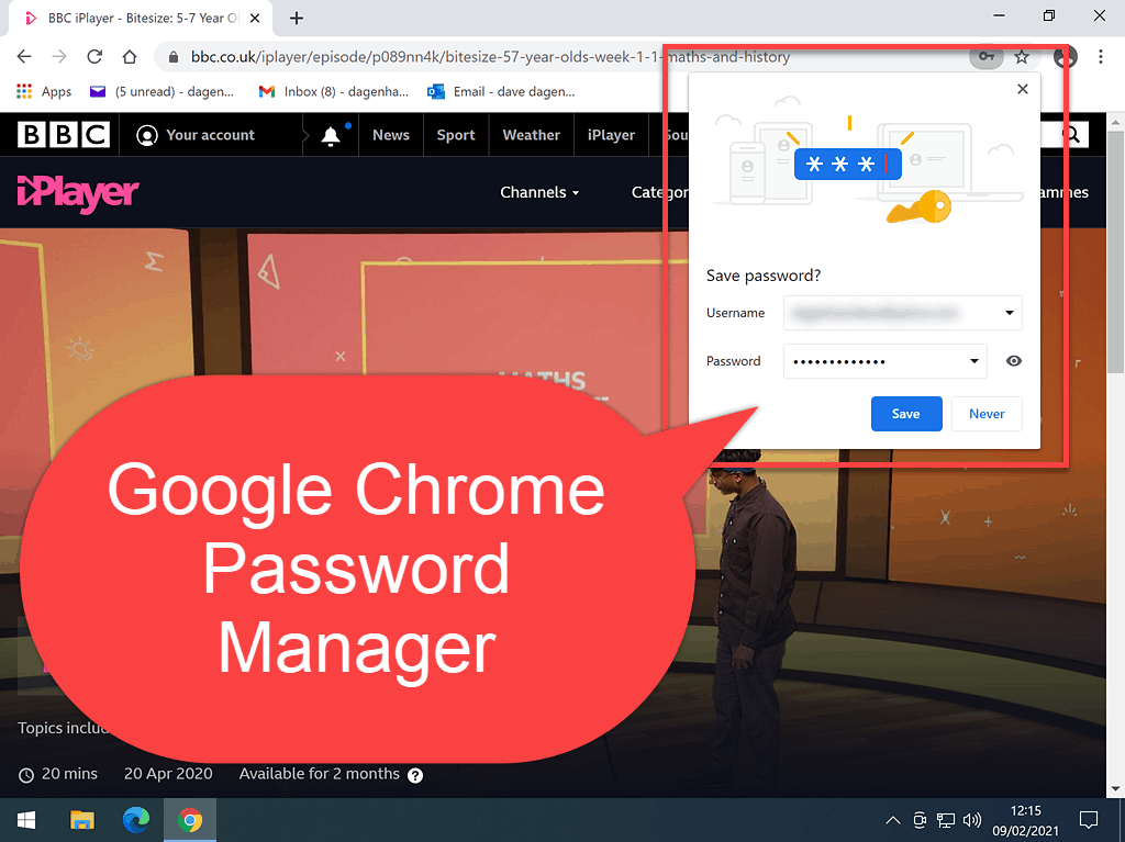 Chrome password manager offering to save login details.
