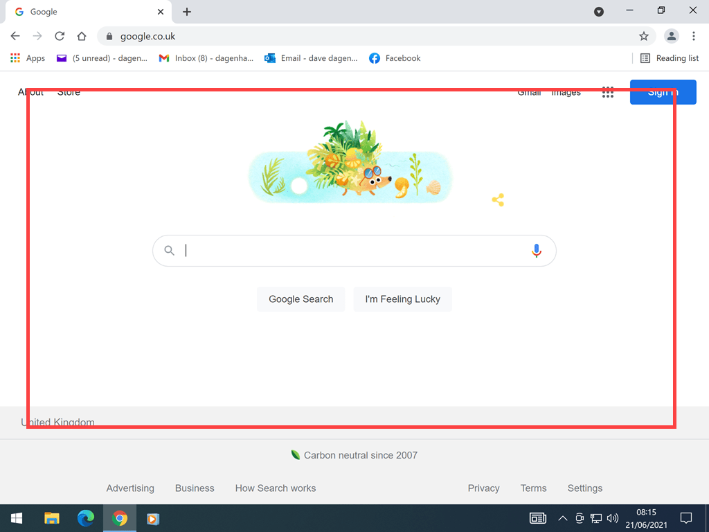 Google website home page.