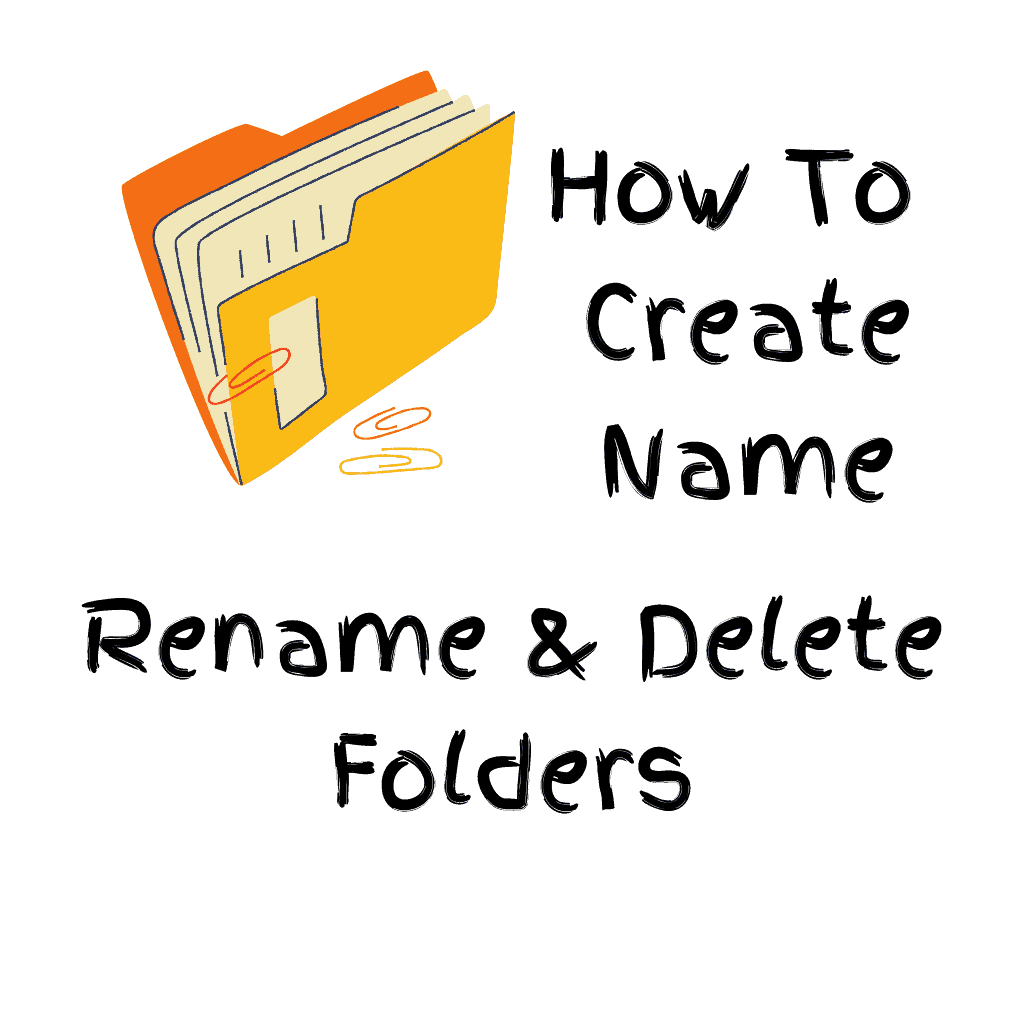 """Computer folder with text """"How to create, name, rename & delete folders"""""""