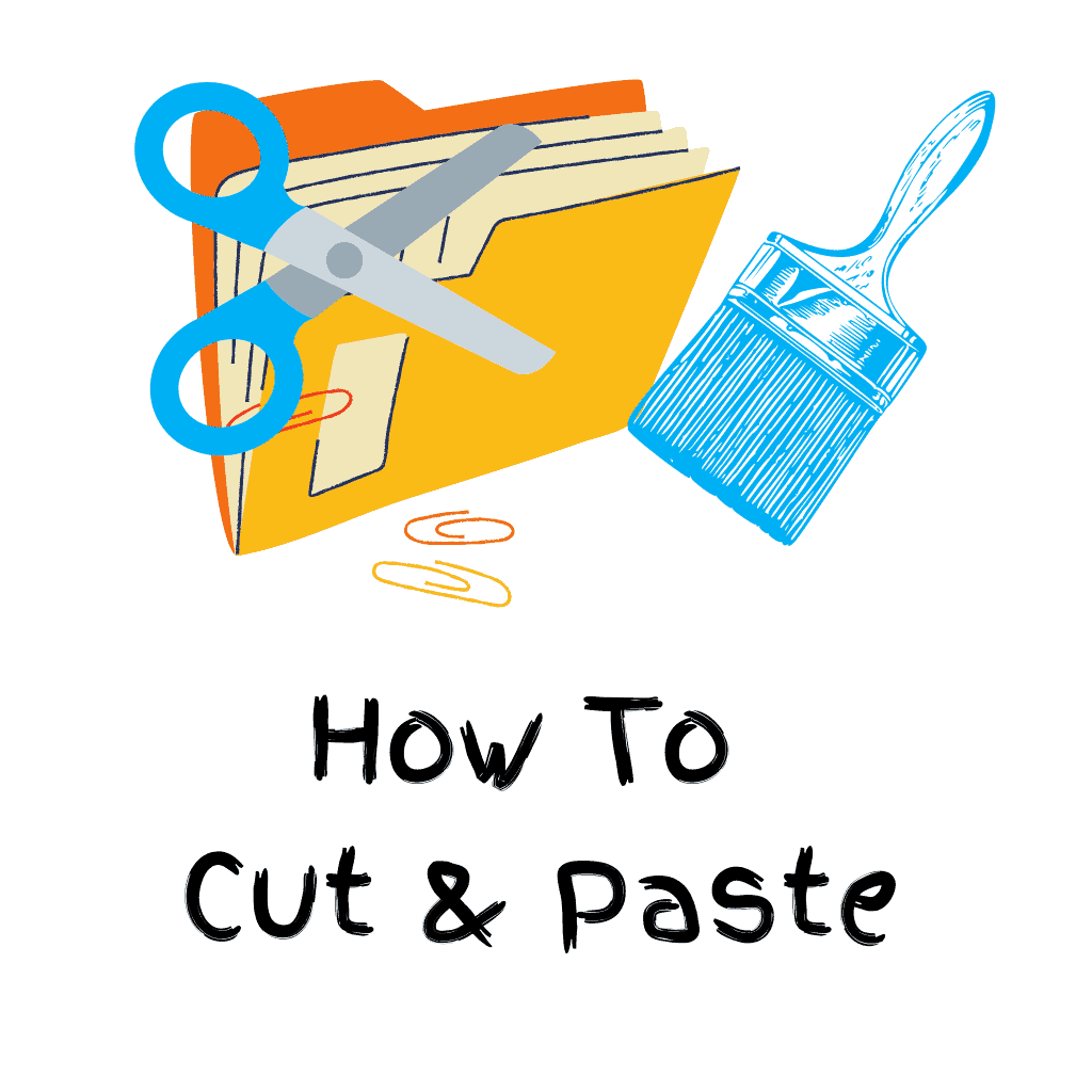 Scissors and a pasting brush over a computer folder