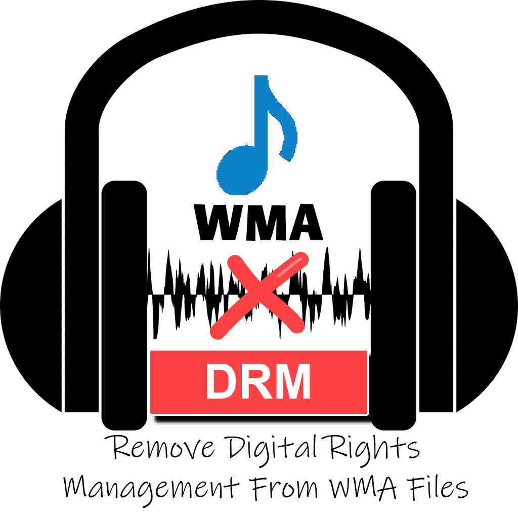 """WMA file above DRM which is crossed out. Text Reads """" Remove Digital Rights Management from WMA files"""""""