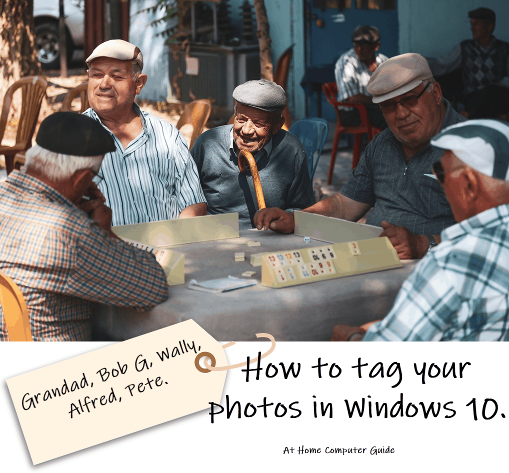 """Image of people sat at cafe table. Parcel tag has been added with their names. Text reads""""How to tag you photos in Windows"""""""
