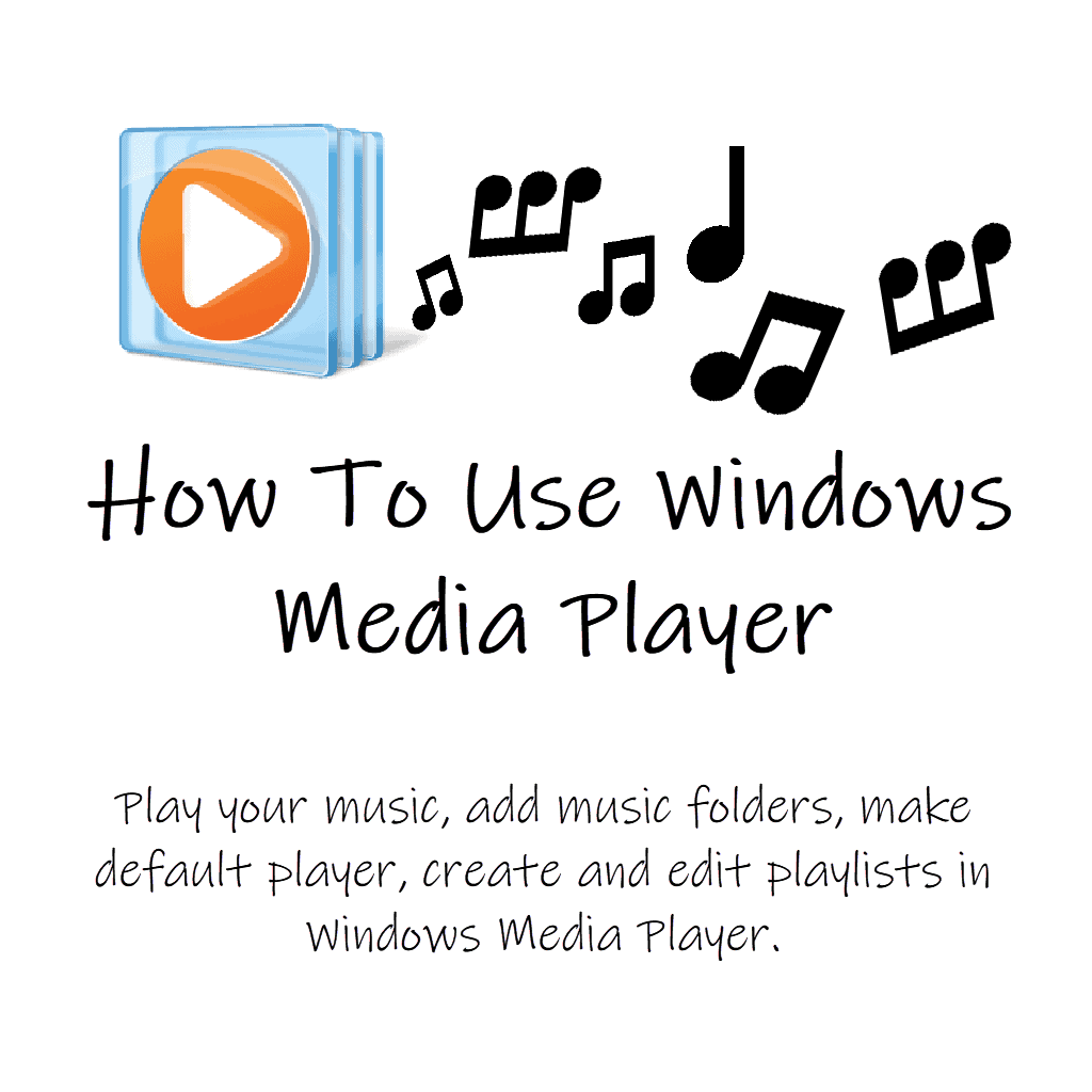 """Windows Media Player icon (logo) with musical notes. Text reads """" How to use Windows Media Player"""""""
