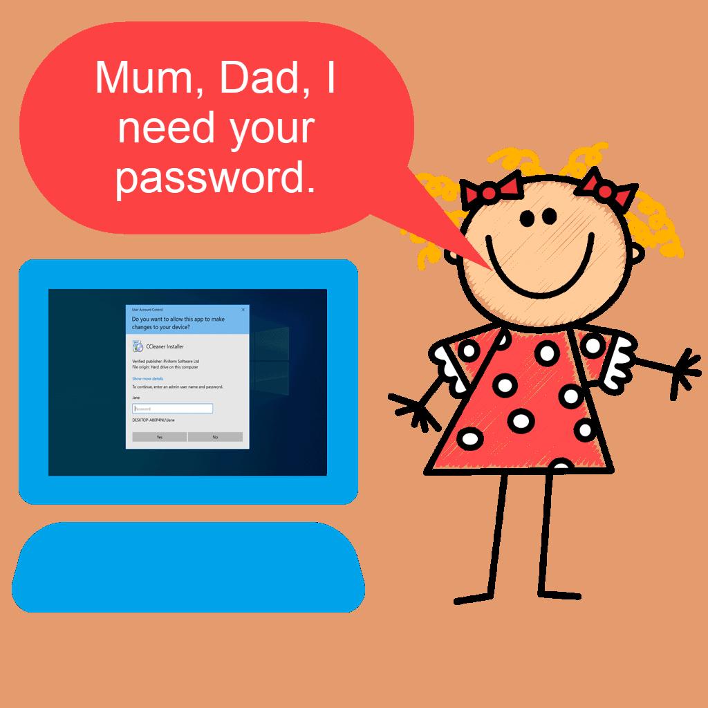 Clipart child requesting Admin password.