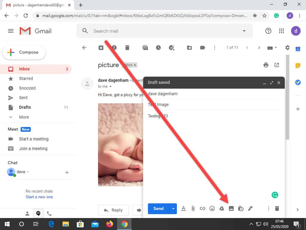 The Insert Photo butt in Gmail is indicated by an arrow.