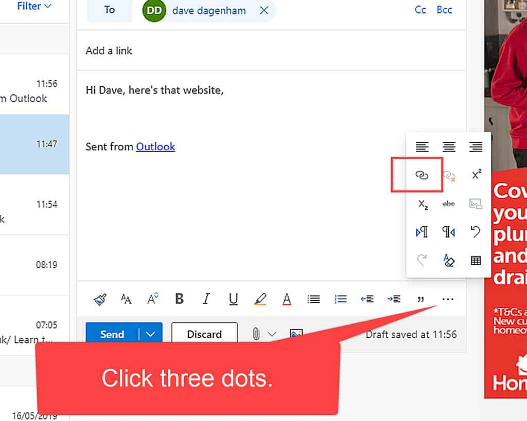 Add link icon on menu in Outlook.com