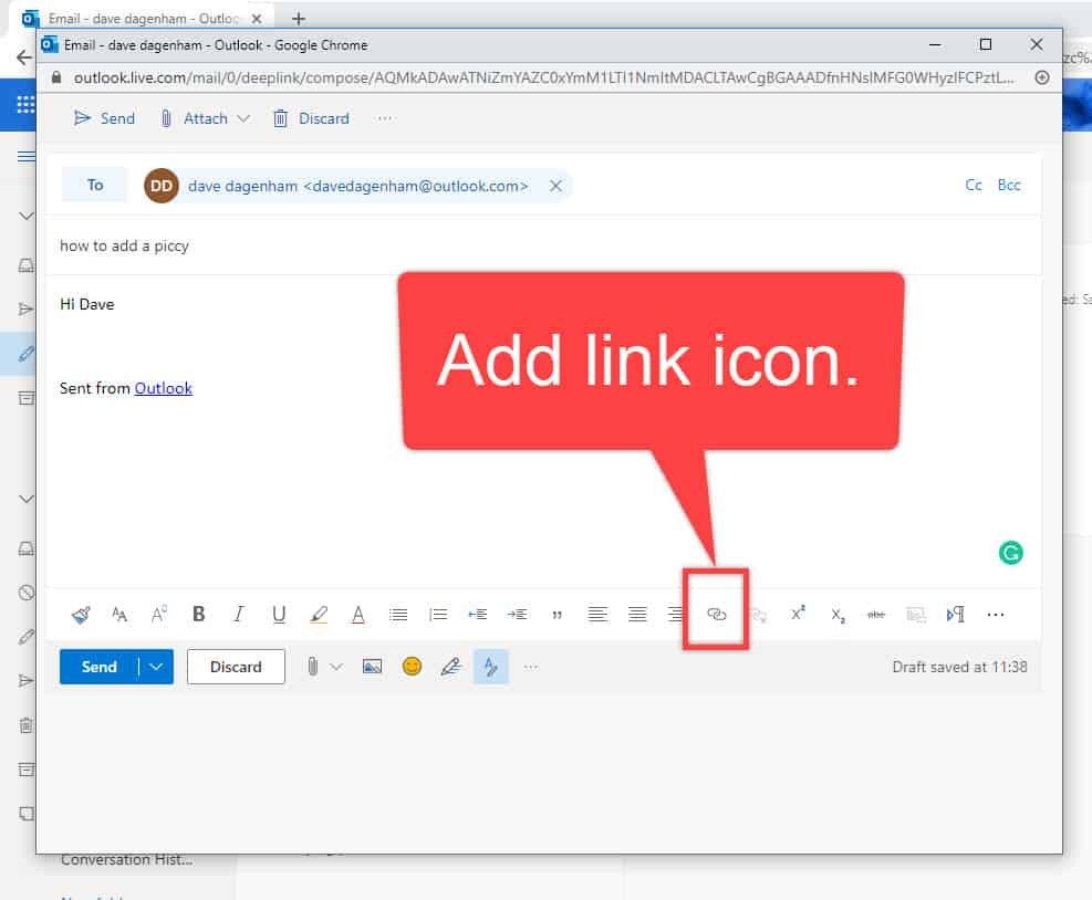 Add link icon on toolbar in Outlook.com