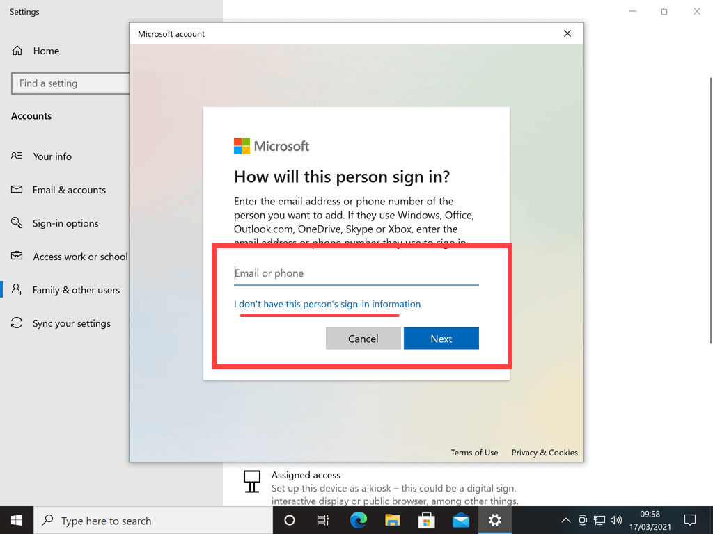 I don't have this person's sign-in information option is underlined
