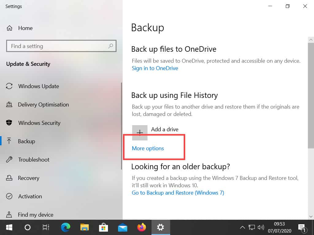 Selecting More Options in Windows File History.
