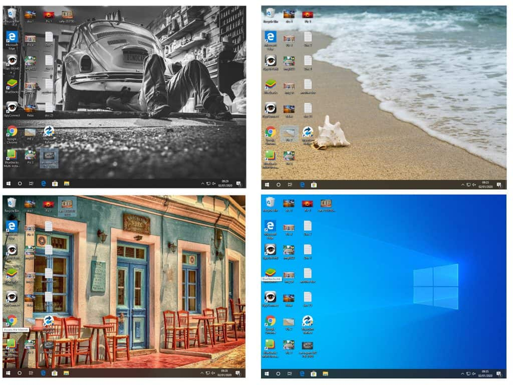 4 Windows desktops are shown, each with different background images.