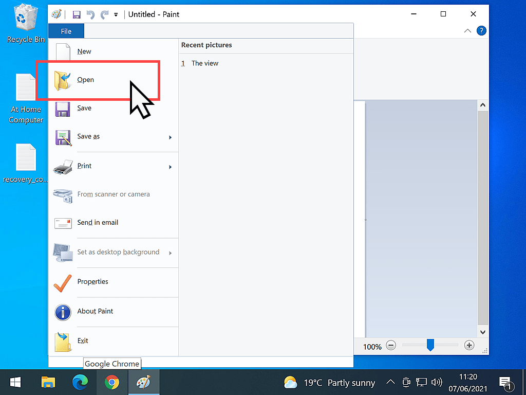 Open button indicated in Windows Paint.