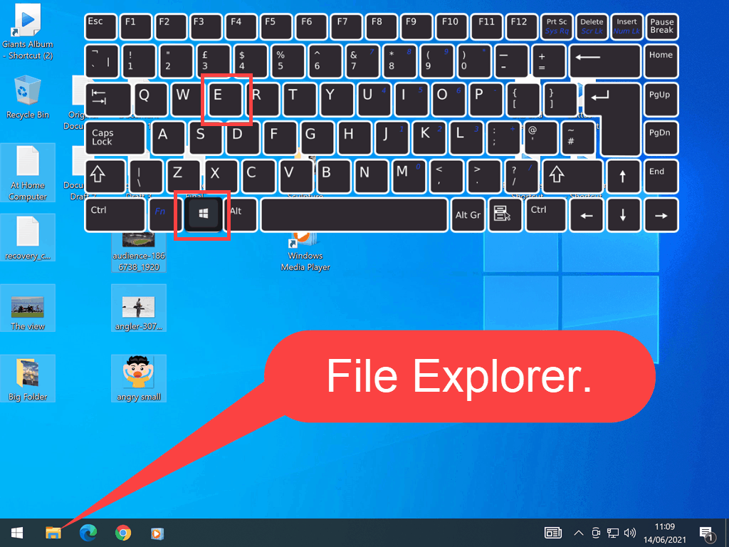 Standard UK layout keyboard. Windows key and letter E are indicated.