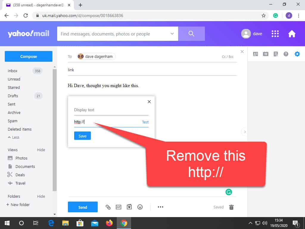 Add Link address box highlighted. Remove text HTTP:// before pasting in URL