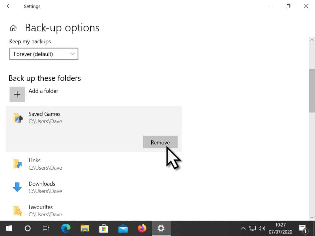 Remove folder Saved Games from File History backups