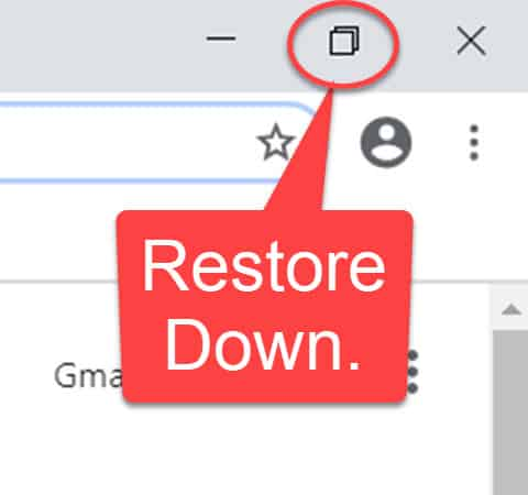 Close up view of the Restore Down button.